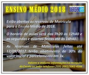 2017-09-06- Matrículas Ensino Médio 2018