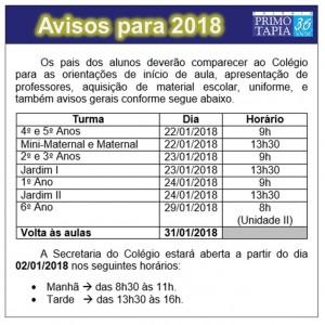 2017-12-06- Avisos para 2018